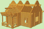 деревянный  сруб дома, сруб дома 9м х 9м