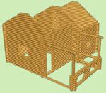 сруб дома, деревянный сруб  7м х 7,5м