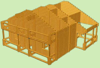 Сруб деревянного дома. Общий вид деревянного сруба дома. Проект деревянного сруба